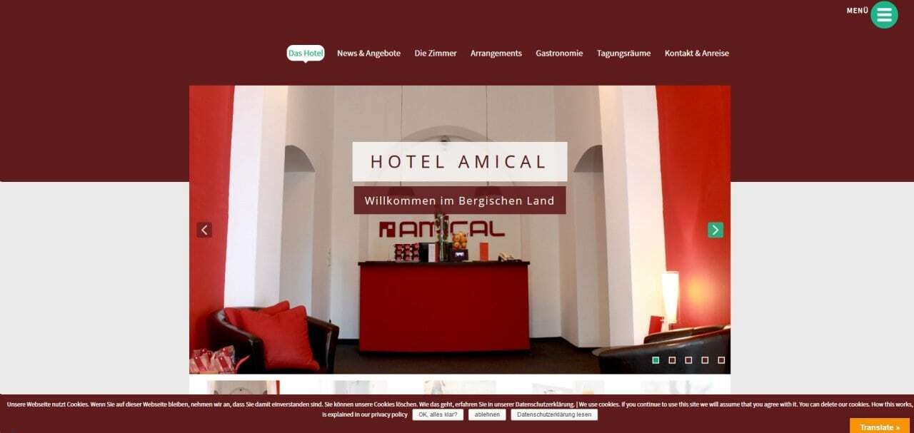 Responsive wordpress webseiten for Amical hotel wuppertal