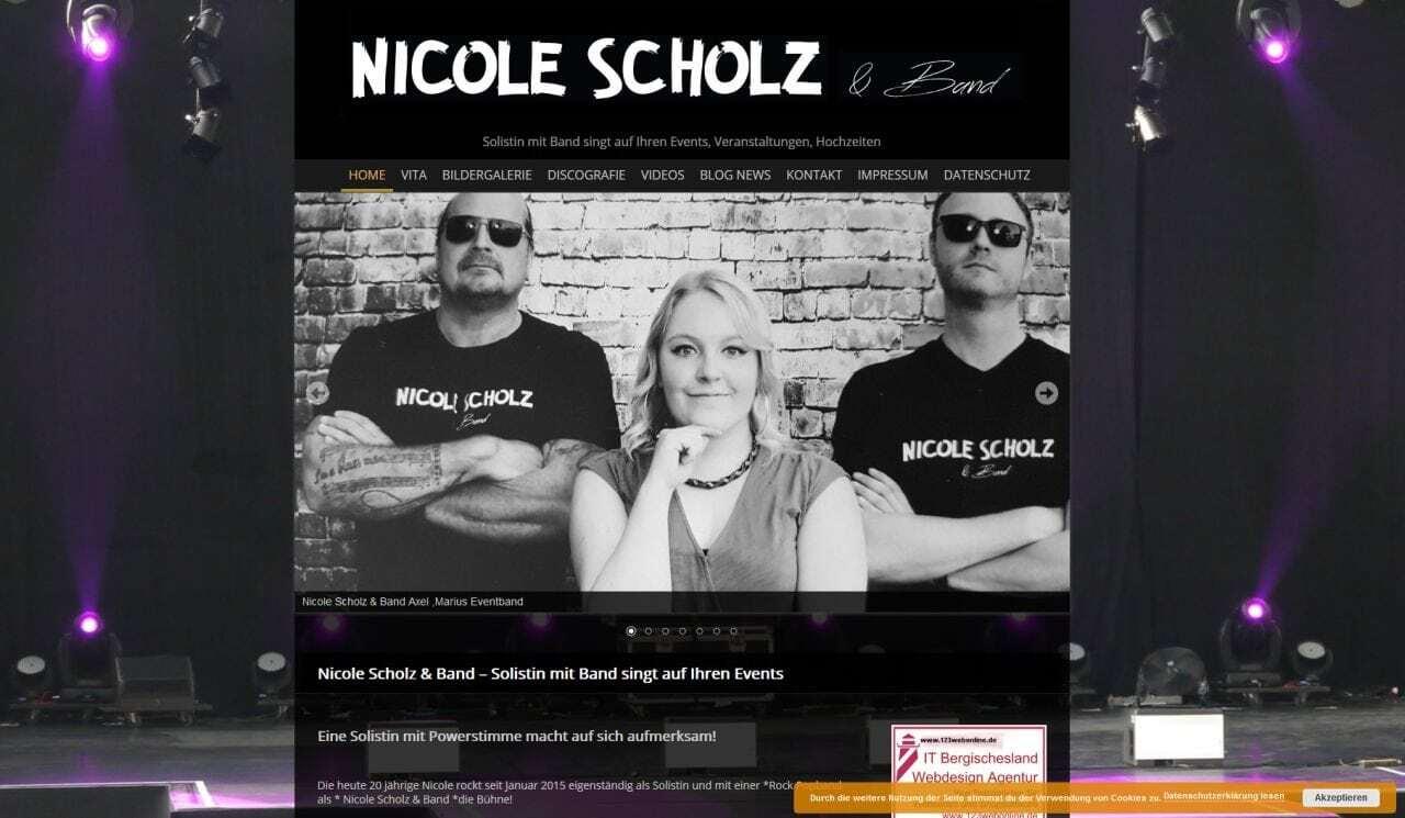 Nicole Scholz und Band Wordpress Webdesign mit Responsive für mobile Benutzerfreudlichkeit
