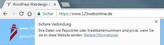 Chrome Anzeige HTTPS SSL Webseite