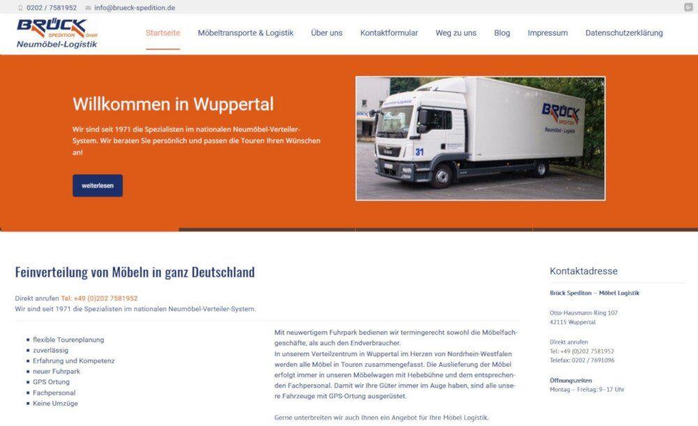 Spedition corporate Webdesign WordPress Wuppertal