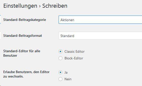 Gutenberg zurück auf Classic Editor