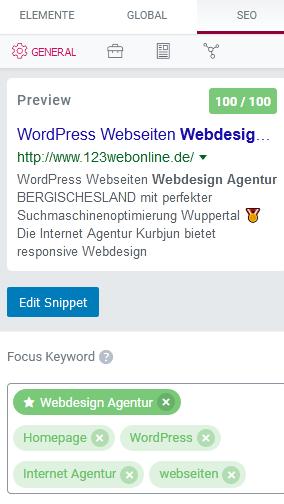 SEO-Google- Elementor WordPress Webseiten Webdesign Agentur mit Suchmaschinenoptimierung