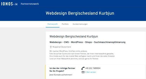 IONOS Partner Wuppertal Webdesign Bergischesland